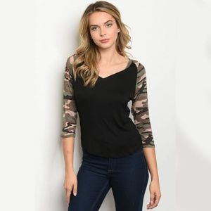 BLACK CAMOUFLAGE TOP